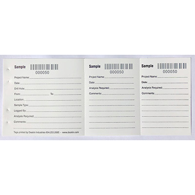POLY Sample Tags Numbered/Barcode 3-Part / 50 per book